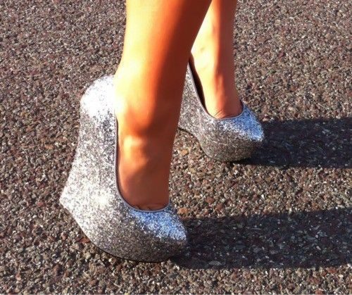 YES.: Silver Glitter, Wedges Heels, Sparkly Shoes, Glitter Shoes, Wedges Shoes, High Heels, Glitter Heels, New Years, Silver Wedges