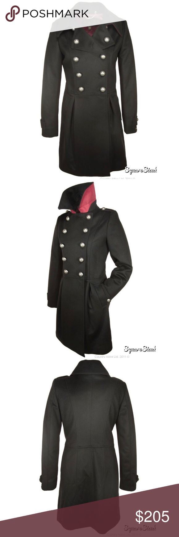 NWT Barbour Ladies Fusilier Coat in Black NWT Barbour Ladies' Fusilier Coat  This is a beautiful Ladies' Coat with a high waist and tulip silhouette which is very flattering. The Barbour branded dome buttons add lovely detailing and the red under collar provides a flash of colour to this classic black coat.  - 60% wool, 20% cashmere, 20% polyamide outer - 50% polyester, 50% viscose lining - Dry clean only - Back length: 34.5-37ins | 88-94cm Barbour Jackets & Coats Pea Coats