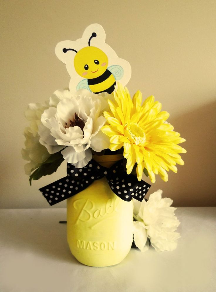 Bumble Bee baby shower, baby shower, baby shower decorations, bumble bee centerpiece. yellow painted mason jar, artificial flowers, silk flowers