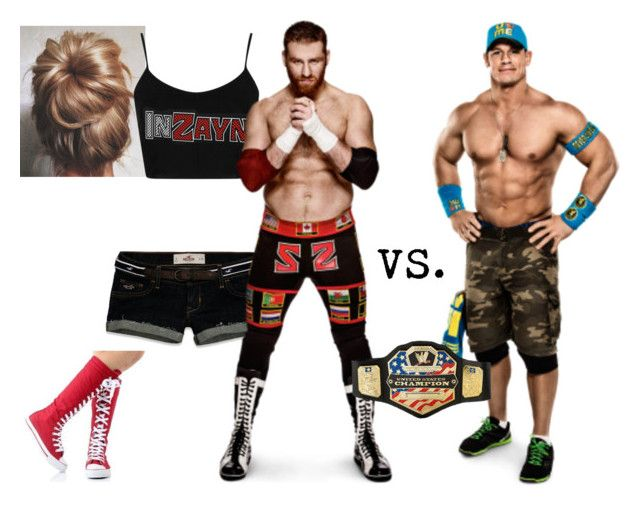 """Ringside for Sami Zayn VS. John Cena for the United States Championship."" by jamiehemmings19 ❤ liked on Polyvore featuring CENA, Hollister Co., Converse, Topshop and WWE"