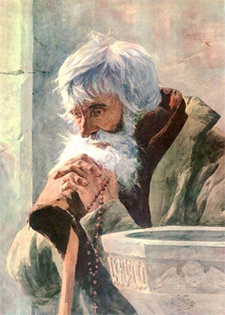 Julian Fałat  (1853-1929)   Modlący się starzec 1881 (akwarela)