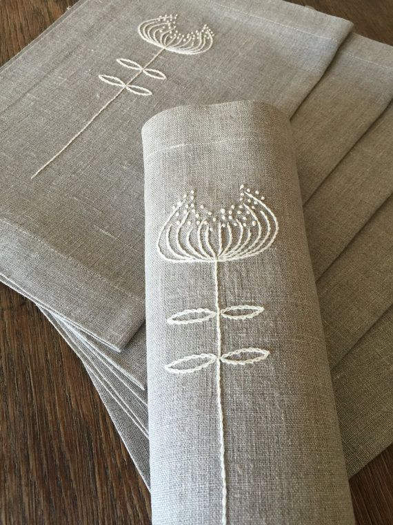 Linen Placemats Set of 6 Hand Embroidery Linen Table by Rokasdarbi