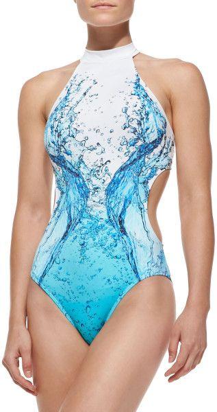 Jets By Jessika Allen Splash-Print Cutout One-Piece Swimsuit in Blue (SPLASH)