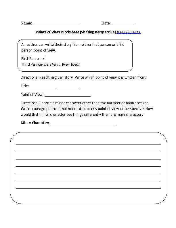 Point Of View Worksheet 1 ELA Literacy RI 5 6 Reading