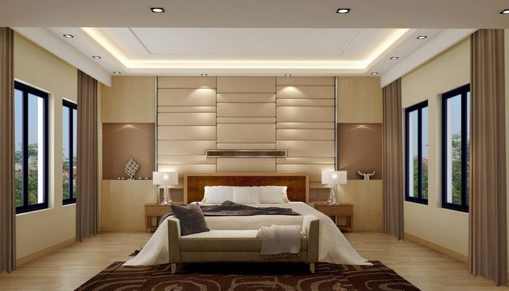 Soft glow of lights and neutral palette keep this bedroom serene