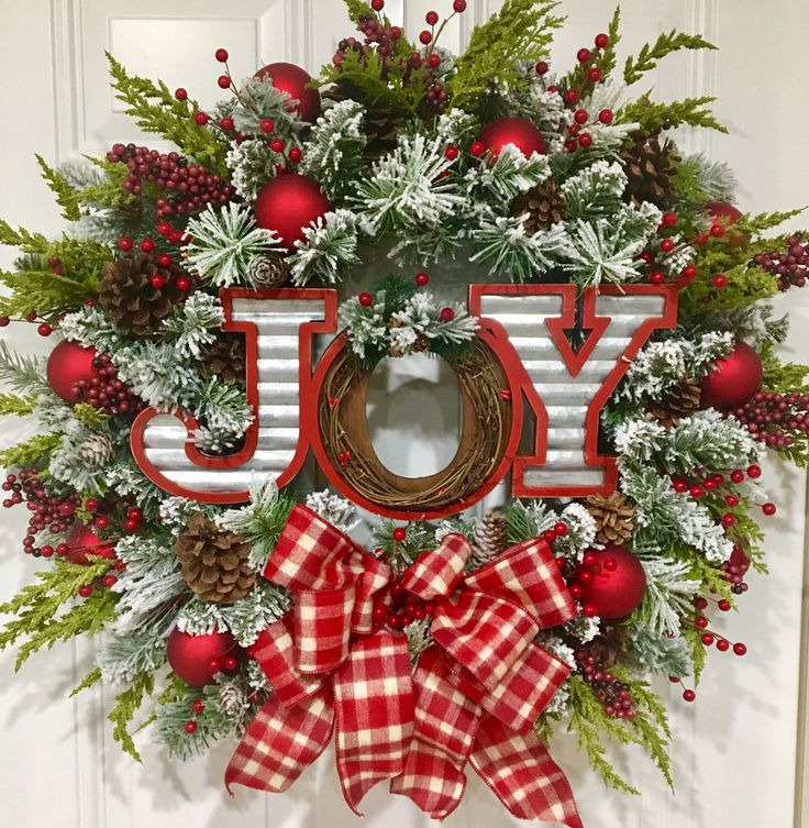 Christmas wreath, holiday wreath, Christmas, holiday, Christmas decor, front door wreath, joy, plaid, lush, candy cane, rustic, woodsy