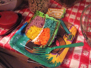Homemade (with cake mix) birthday cake... Taste the rainbow! Perfect for scooby doo party.
