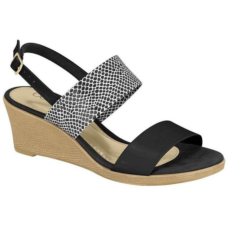 Beira Rio - Vegan Women's Sandal Wedge (Black/White)