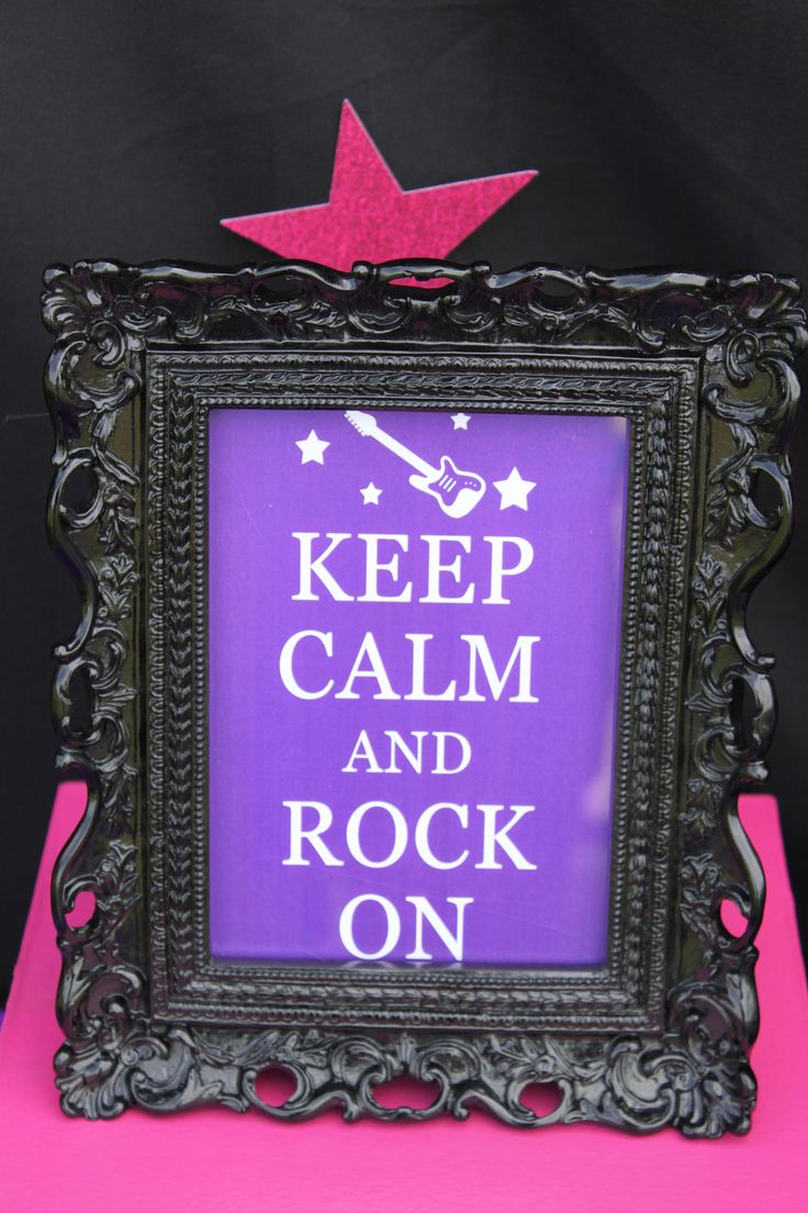 rockstar birthday party  keep calm and rock on Sign
