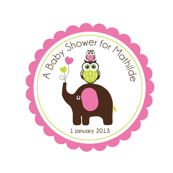 Baby Shower Owl Elephant 2 PRINTABLE Party Circles by ByYolanda, €3.50