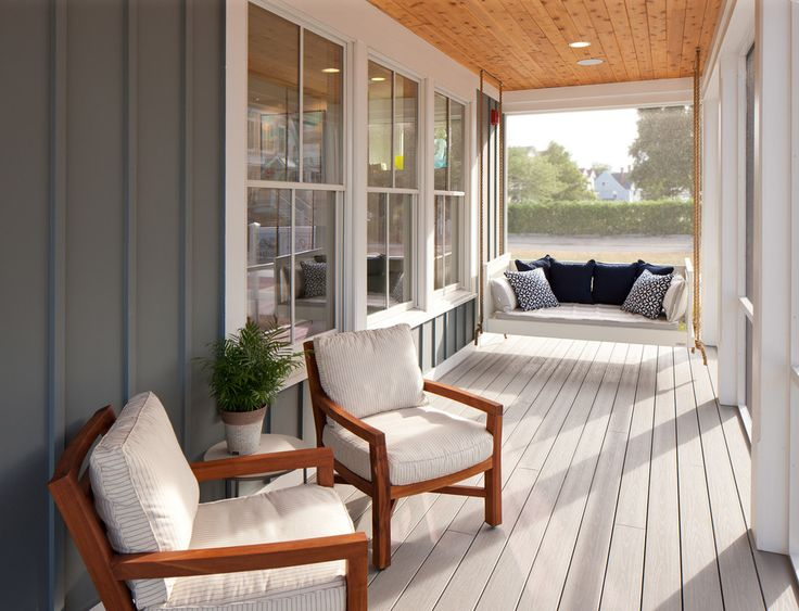 Marvelous porch glider in Porch Beach Style with Colonial Front Doors next to Hanging Room Divider Screen alongside Deck Lighting and Screened Porch Flooring