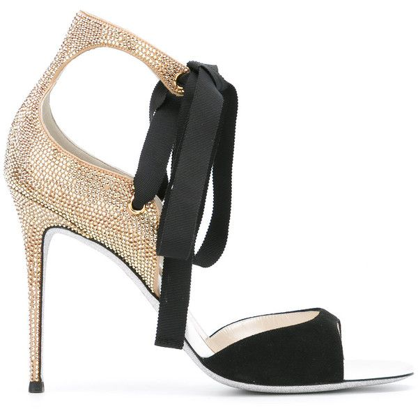 René Caovilla embellished ribbon sandals ($1,162) ❤ liked on Polyvore featuring shoes, sandals, heels, black, ribbon shoes, ribbon sandals, embellished leather sandals, black shoes and black sandals