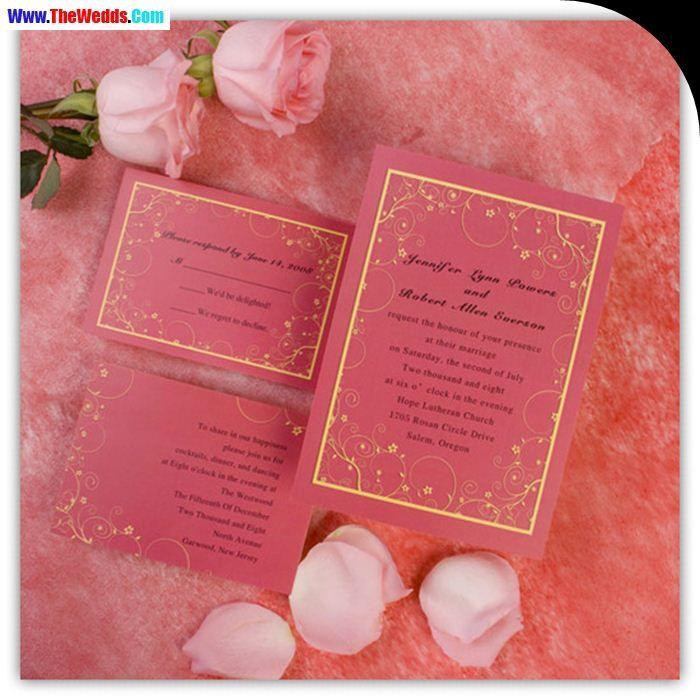 Flower Pink Coral Wedding Invitations
