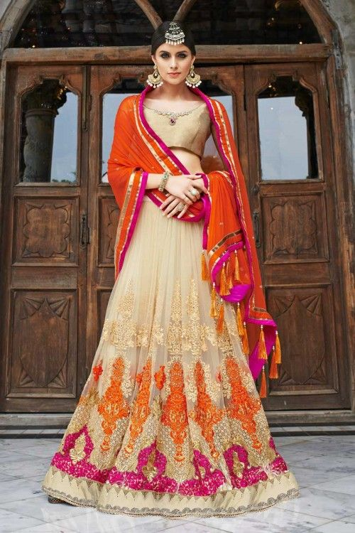 Pakistani designer lehenga, Beige Dupion chaniya choli-Andaaz Fashion now in shop. Andaaz Fashion brings latest designer ethnic wear collection in UK  http://www.andaazfashion.co.uk/womens/lehenga-choli/beige-georgette-and-net-lehenga-with-dupion-choli-dmv9526.html