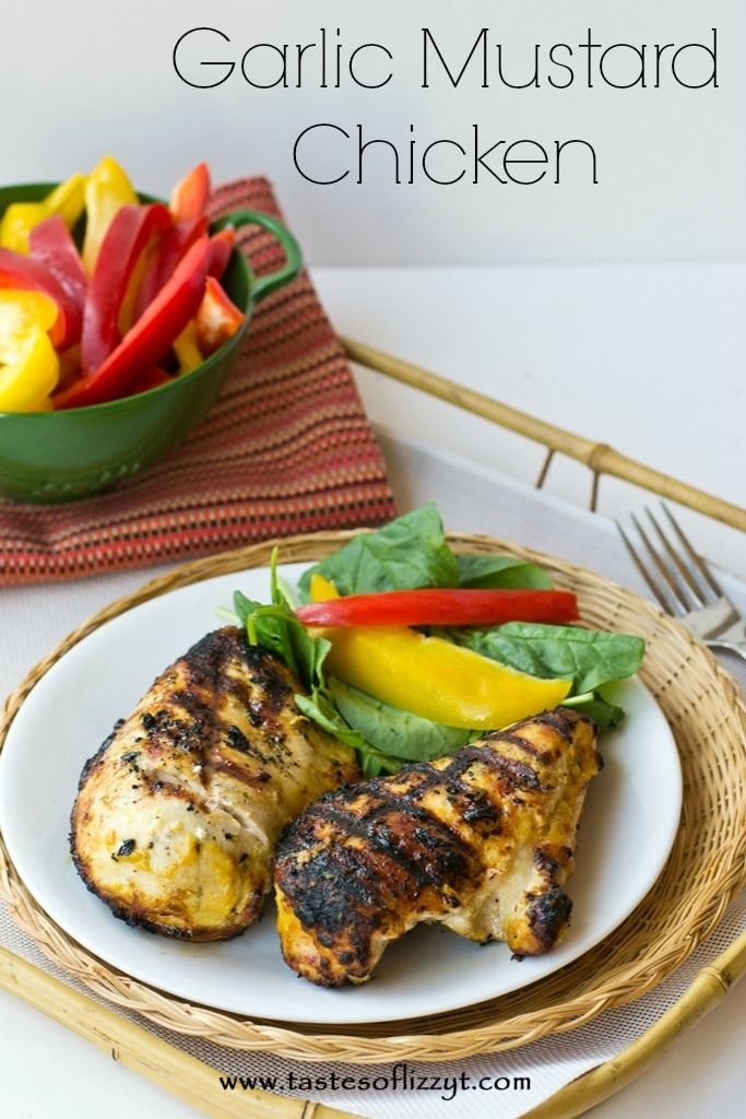 garlic spicy mustard chicken; made mine in the george forman grill with sliced chicken and was bomb on a salad!
