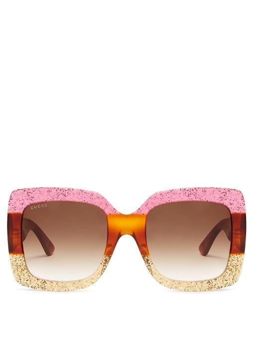 GUCCI Oversized Square-Frame Sunglasses. #gucci #sunglasses