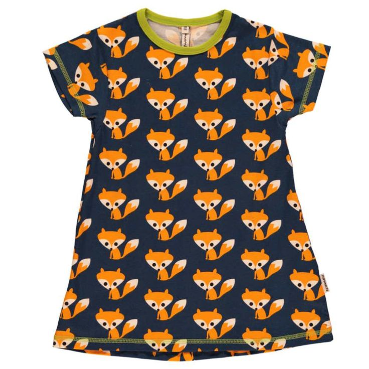 A short sleeved a -line top with bold fox print from Maxomorra, available for ages 3 years - 8 years.