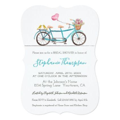 Watercolor Tandem Bicycle Bridal Shower Invitation - invitations custom unique diy personalize occasions