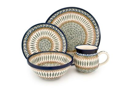 Blue Rose Polish Pottery: Tuscany 4 PC Dinner Set