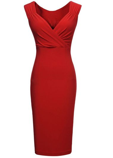 Glamorous Solid Red Knee Length Dress with V Neck - USD $23.06