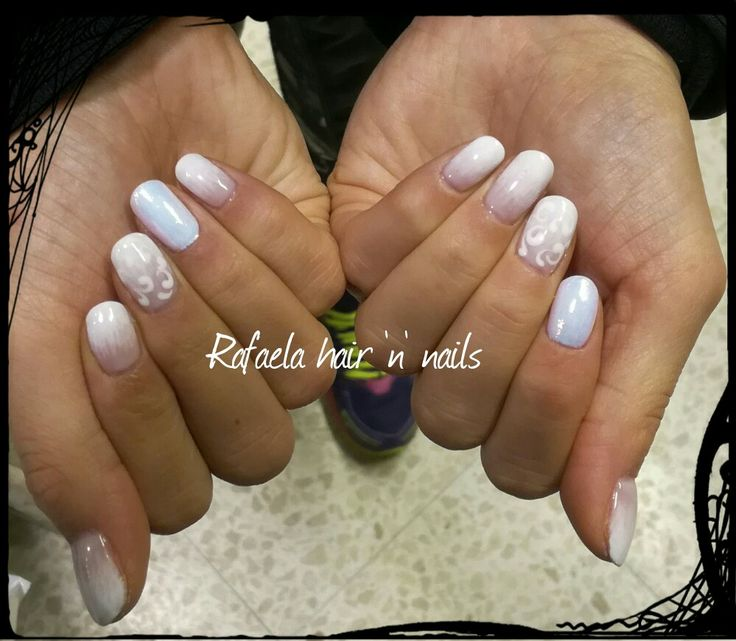 White nails, mermaid effect, ombre nails, babyboomer