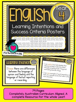 GRADE 4 All English Learning INTENTIONS & Success Criteria! Compatible with ALL STATES  AUSTRALIAN CURRICULUMTHESE ARE EXACTLY THE SAME AS THE LEARNING GOALS JUST REWORDED FOR THOSE WHO USE INTENTIONS INSTEAD of GOALS.This packet has all the posters you will need to display the learning INTENTIONS for the whole year:GRADE 4 Australian Curriculum English Reading and Writing Speaking and Listening(Language, Literature, Literacy)All content descriptors have been reworded into smart goals wit...