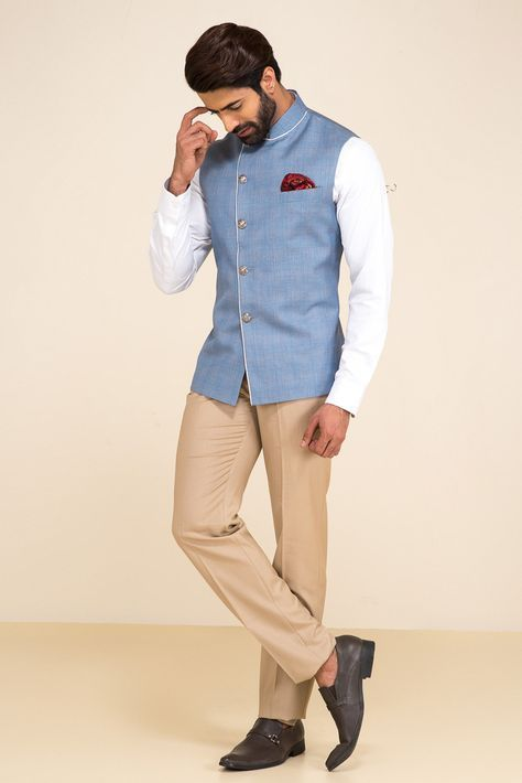 Oshnaar Blue Plaid Nehru Jacket With White Shirt And Beige Pants. #flyrobe #groom #groomwear #groomsherwani #sherwani #flyrobe #wedding #designersherwani