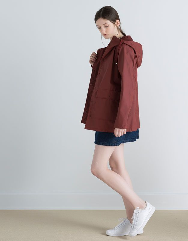Pull&Bear - woman - new products - laminated raincoat - maroon - 05712305-V2016