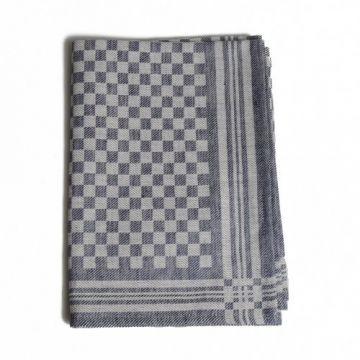 Thee-/glazendoek, linnen/katoen, blauw ruitje