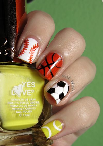 Baseball/Basketball/Soccer/Tennis Ball Nails-- change out tennis for football