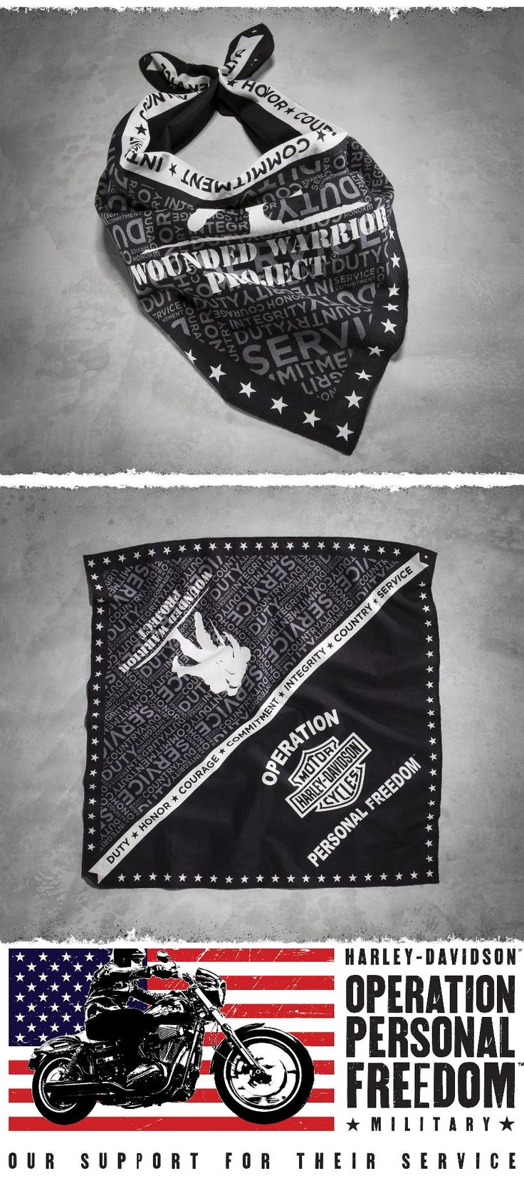 Show your gratitude to the brave men and women who serve our country each time you wear this biker bandana. | Harley-Davidson Wounded Warrior Project Graphic Bandana