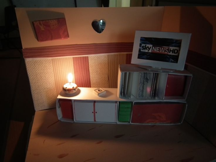 mock up of the lounge corner for my other grand daughter complete wth candle-light