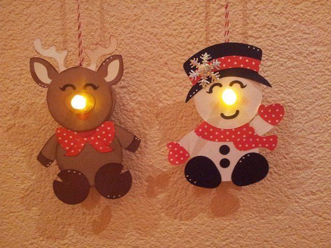 Rudolf en Snowman van waxlichtjes op batt.