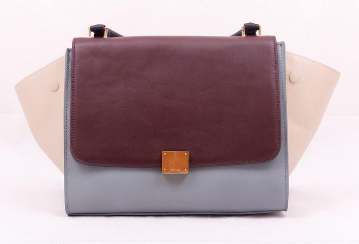 Сумка Celine Trapeze bag кожаная серая с коричневым и бежевым