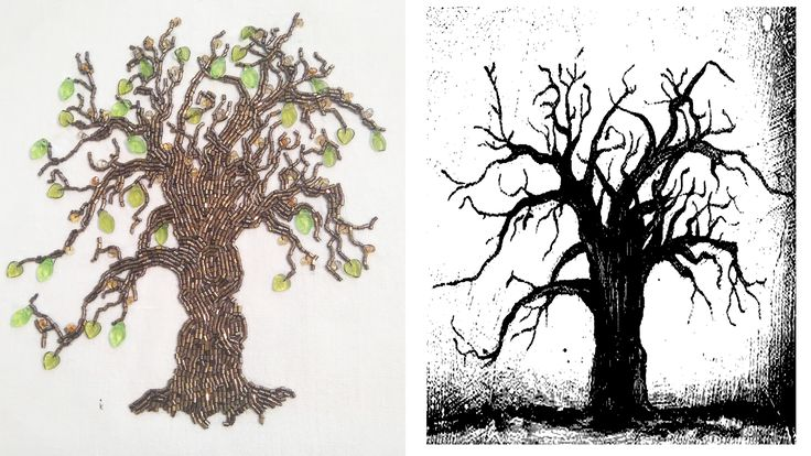 korálkový stromek vyšitý