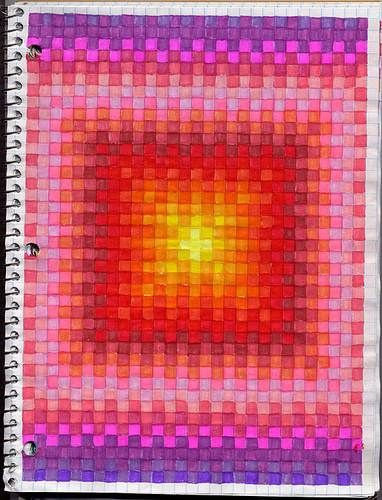 The smARTteacher Resource: Graph Art. Hand drawn using coloured ink. Organic, repetitive and geometric pattern.