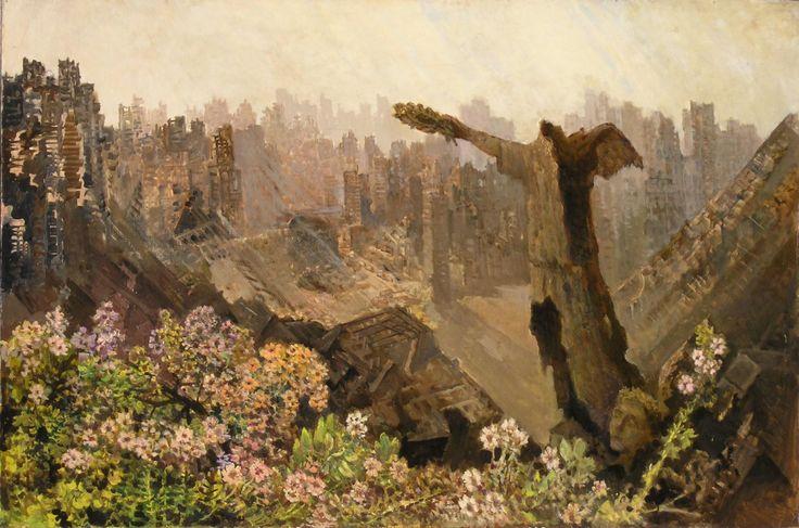 Konstanty MACKIEWICZ ,Spalone miasto V , olej, płyta, 97 x 146 cm