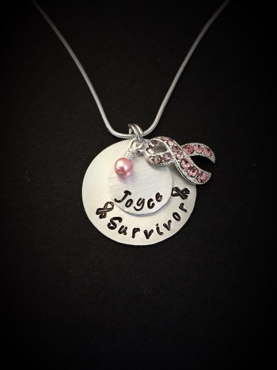 Breast Cancer Jewelry-Cancer Awareness Necklace-Survivor Necklace-Pink Ribbon Jewelry, Fight for a Cure- Hand Stamped Jewelry