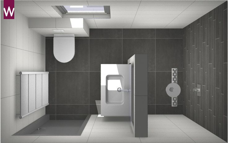 Die Idee vieler Menschen: ein kleines Badezimmer mit großen Fliesen. Das ist komplett