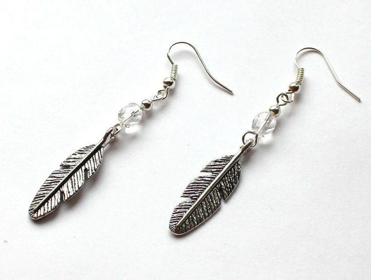 Kolczyki z piórami w Especially for You! na http://pl.dawanda.com/shop/slicznieilirycznie #kolczyki #earrings #crystals #kryształki #handmade #DaWanda #pióła #feather