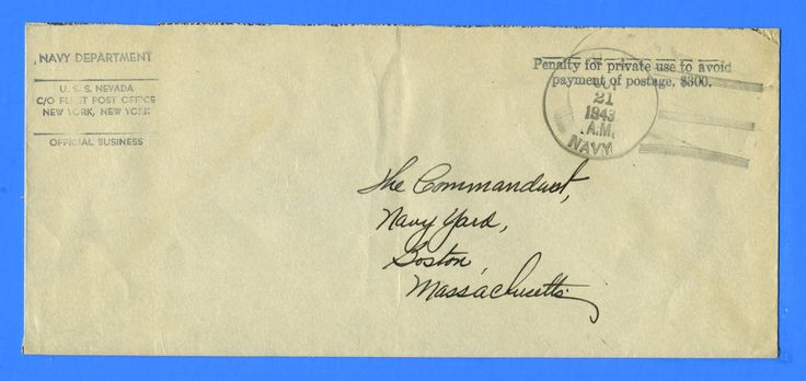 USS Nevada BB-36 Official Mail October 21, 1943