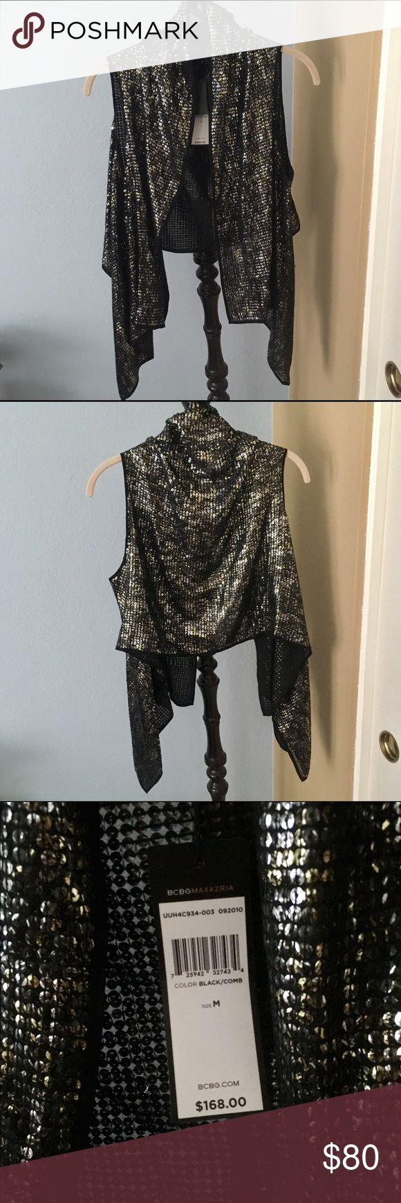 BCBGMAXAZRIA Black/gold combo silk and sequin vest BCBGMAXAZRIA Black/gold combo silk and sequin vest. New with tags BCBGMaxAzria Jackets & Coats Vests