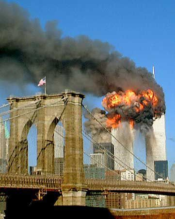 Vintage 9.11.2001, Second of the Twin Towers is hit, as seen from the Brooklyn Bridge, NYC, www.RevWill.com