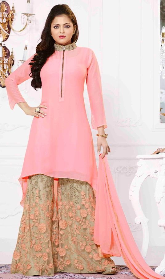 USD 53.84 Pink Georgette Palazzo Style Suit 54342