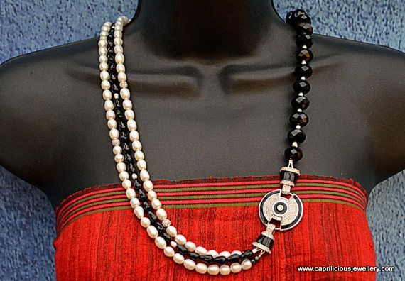 Pearls onyx black and white diamante Bling party