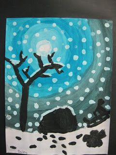 Step=by-step directions with lots of examples. Nice site. Terri's Teaching Treasures: Winter Wonderland Art