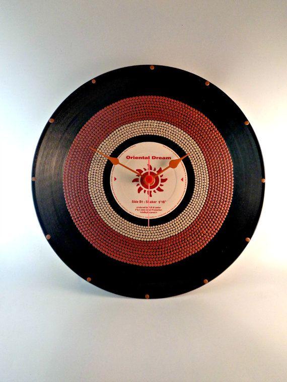 Brown&Beige Vinyl Clock Hand Painted Brown Beige by InsaneDotting