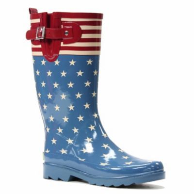 Women's Tall American Flag Print Rubber Rain Boots/Wellies, $41.99