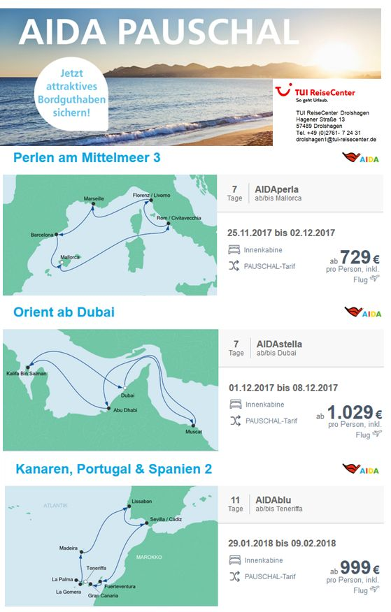 ⏰ AIDA PAUSCHAL Angebote ⏰  Sichern Sie sich jetzt Ihr Bordguthaben in Höhe von 50€ auf ausgewählte Reisen mit AIDA! ☀  Alle weitere Informationen erhalten Sie bei uns, Ihren AIDA-Reiseexperten/innen vom TUI ReiseCenter Drolshagen!