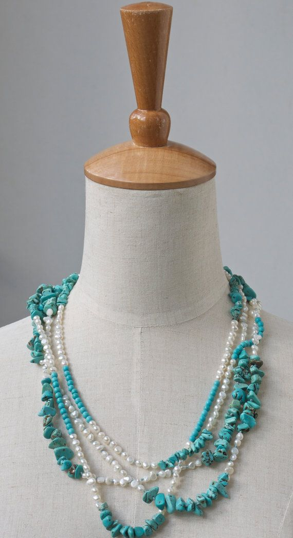 Boho necklace Freshwater pearl and turquoise long hand knotted boho beaded…
